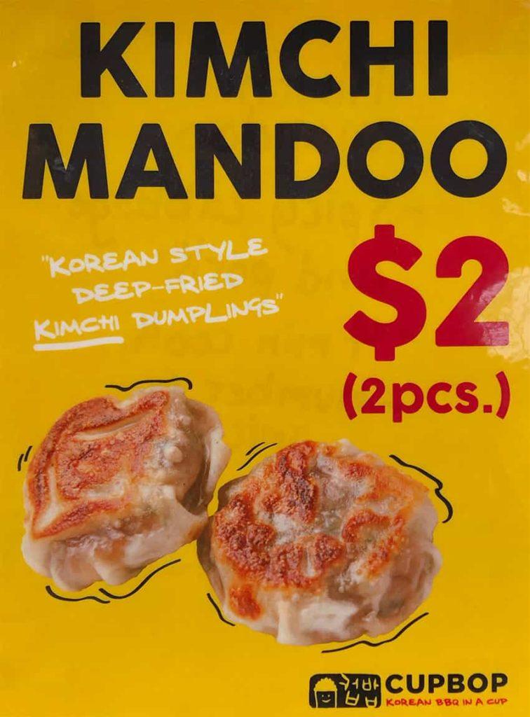 Cupbop menu - kimchi mandoo at Fashion Place