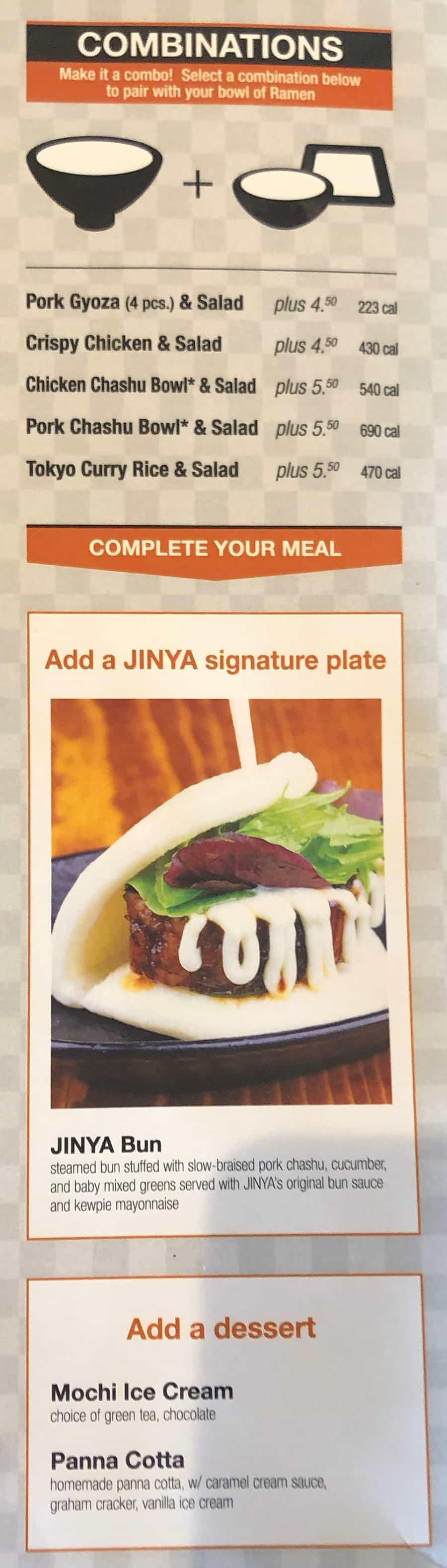 JINYA Ramen Bar menu - combinations