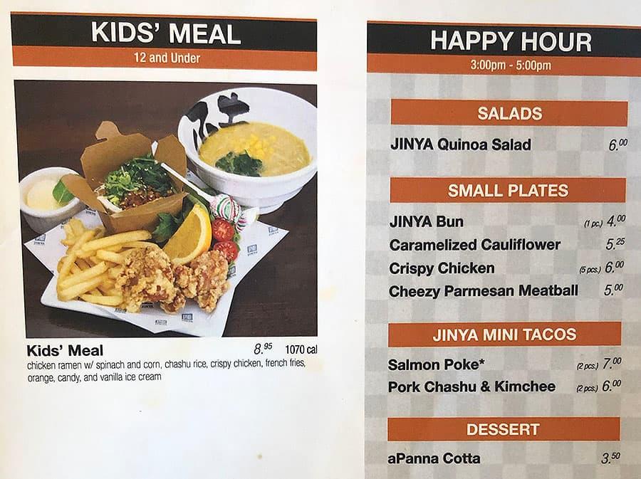 JINYA Ramen Bar menu - kids, happy hour