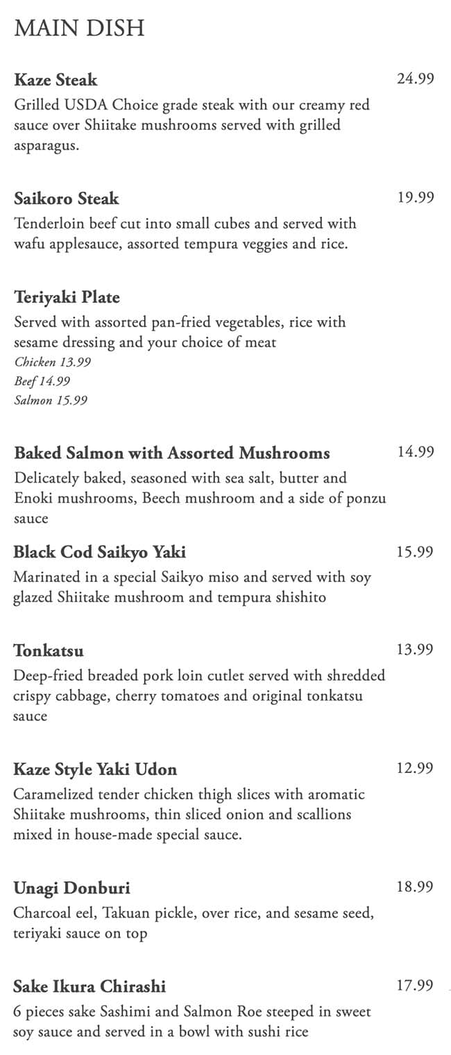 Kaze Sushi Bar And Grill menu - main dish