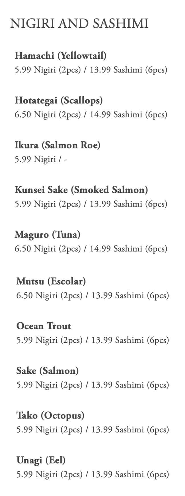 Kaze Sushi Bar And Grill menu - nigiri and sashimi