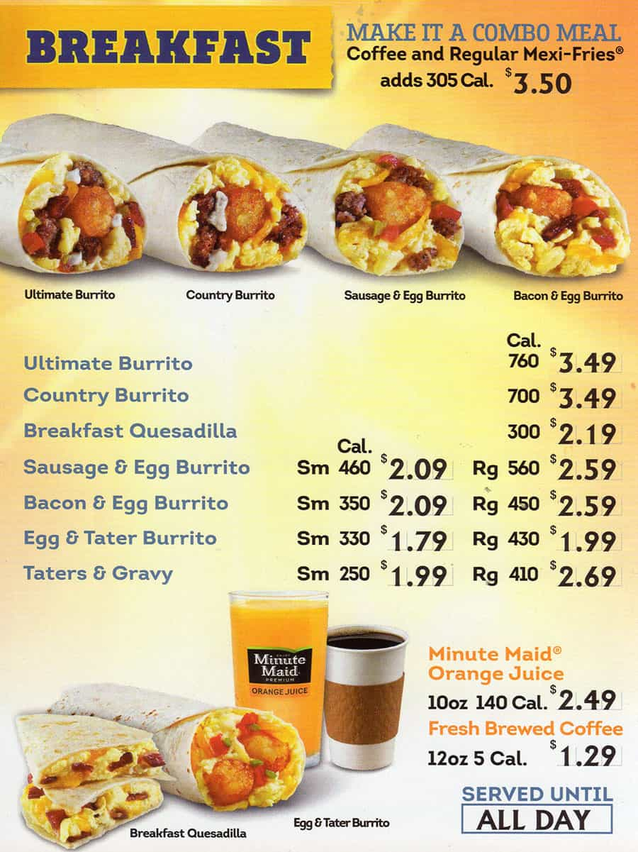 Taco Time menu - breakfast all day