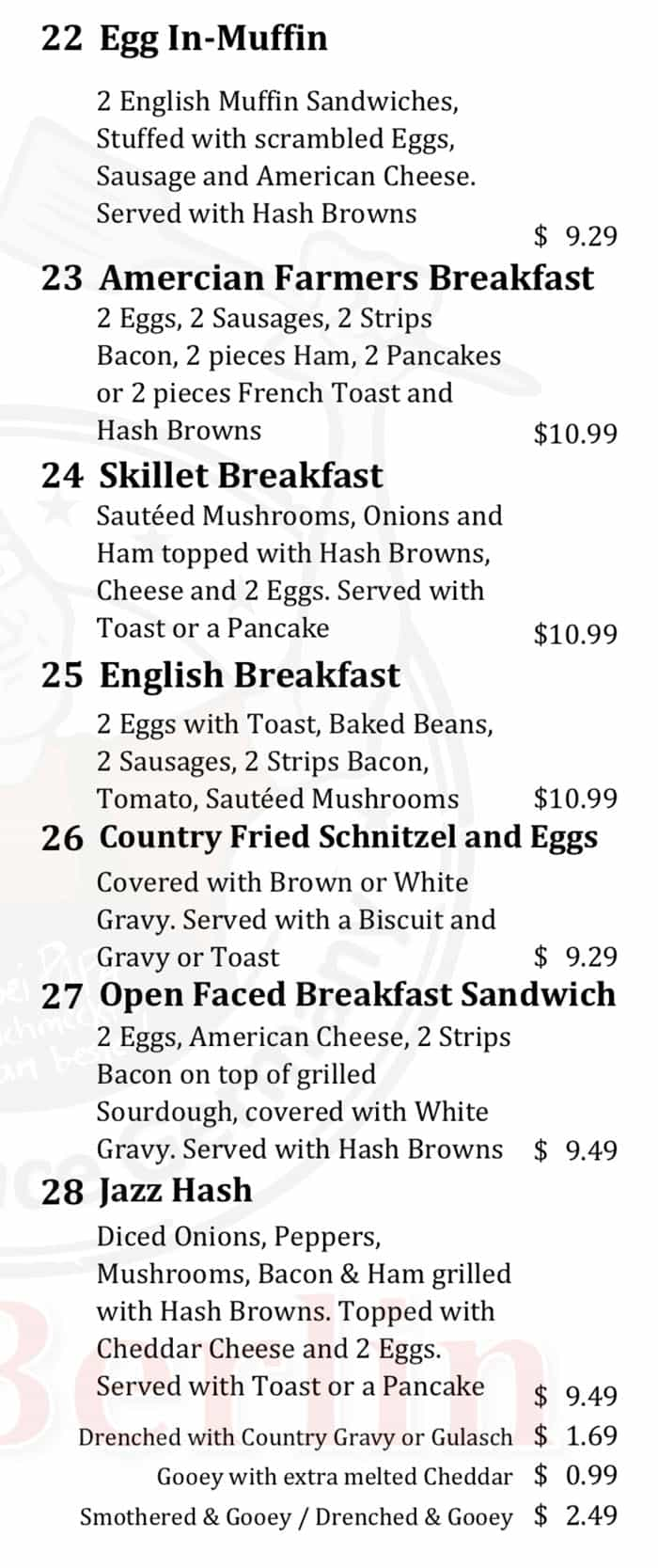 Cafe Berlin menu - all day breakfast continued 4