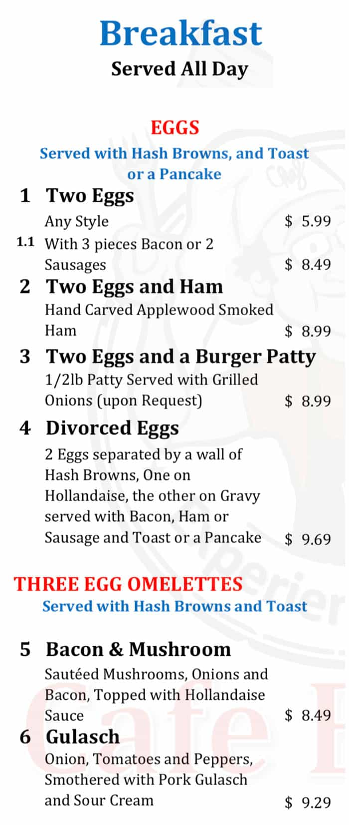 Cafe Berlin menu - all day breakfast