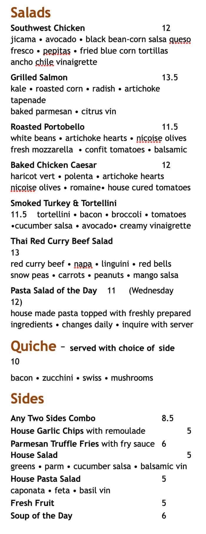 Martine Cafe lunch menu - salads, quiche, sides