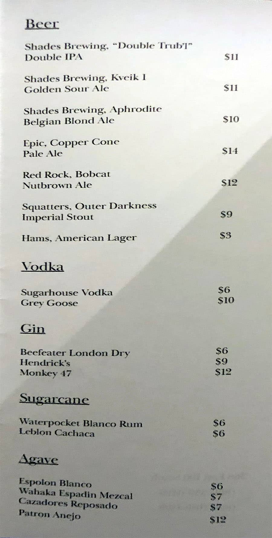 Oquirrh SLC drinks menu - beer, liquor