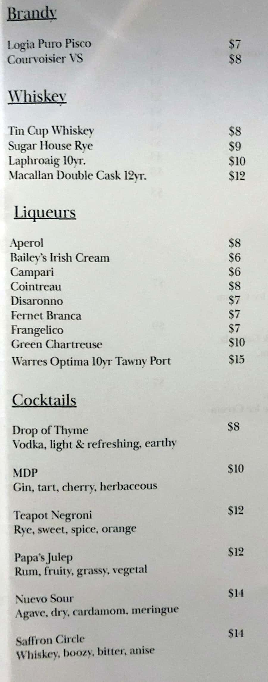 Oquirrh SLC drinks menu - liquor, cocktails