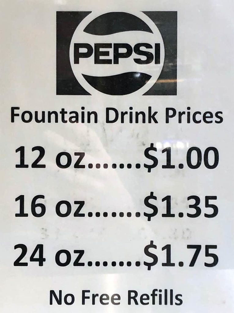 University Of Utah cafteria menu - fountain drinks