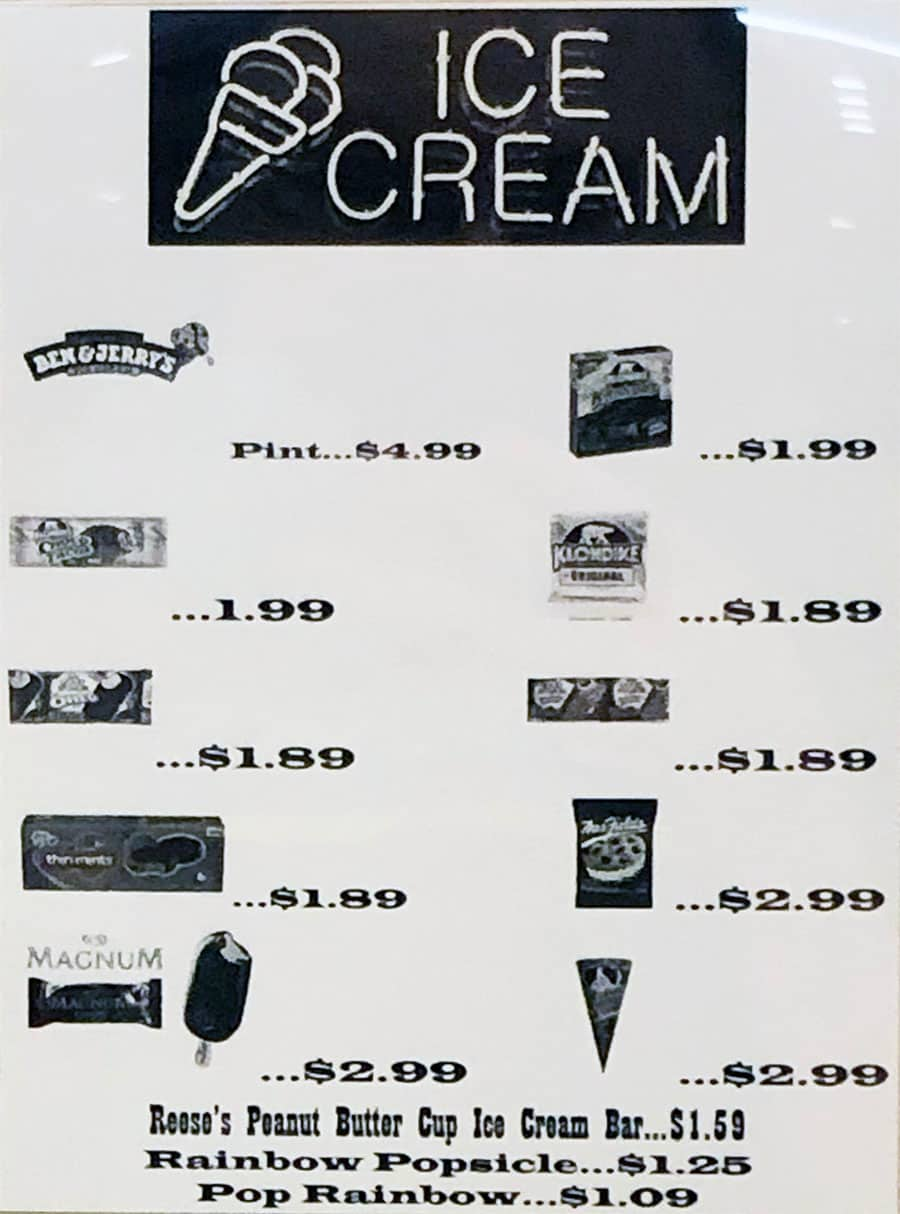 University Of Utah cafeteria menu - ice cream