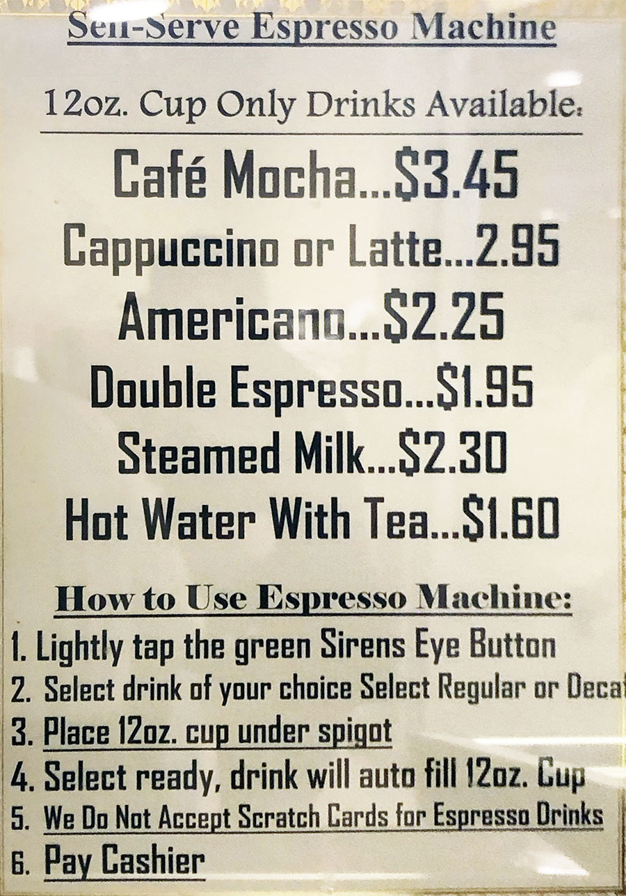 University Of Utah cafeteria menu - self serve espresso