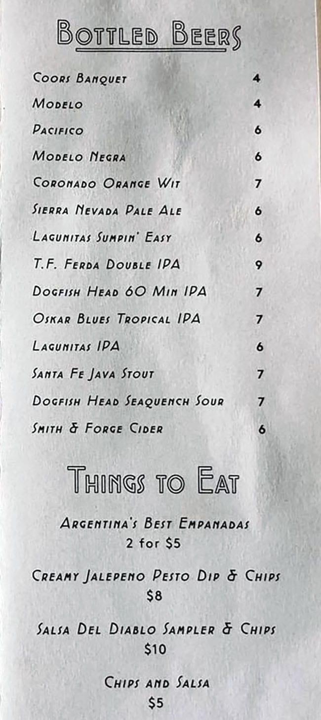 Alibi menu - beers and shots