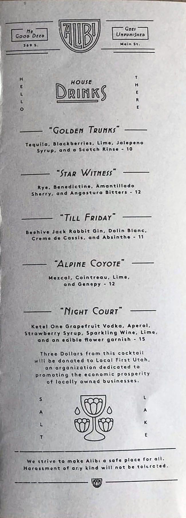 Alibi menu - cocktails