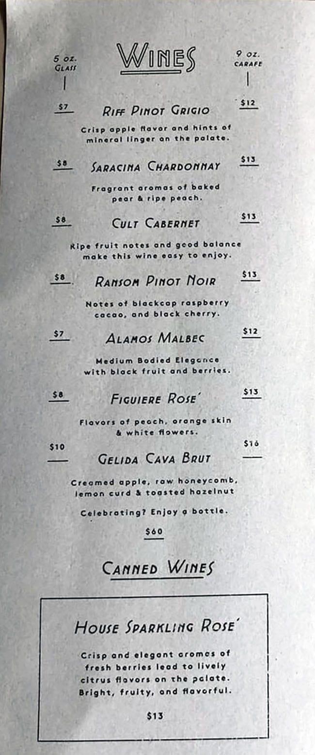 Alibi menu - wines