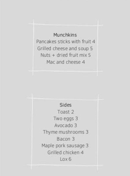 Cotton Kitchen menu - kids, sides