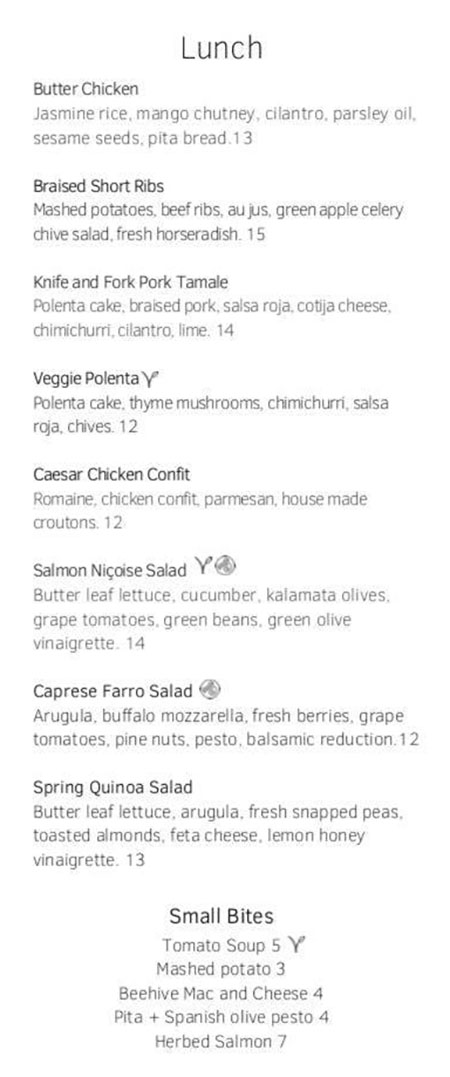 Cotton Kitchen menu - lunch