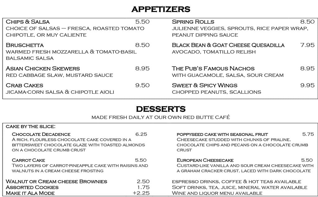 Desert Edge Brewery menu - appetizers, desserts