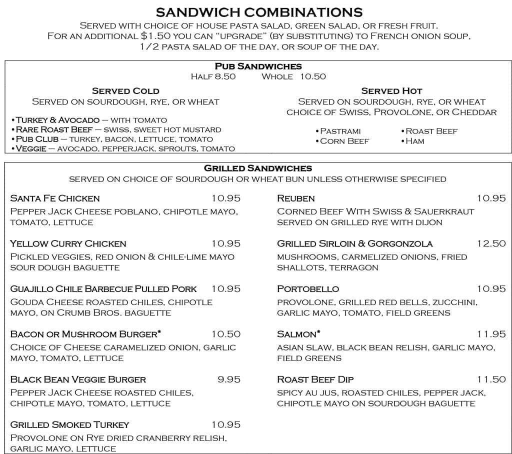 Desert Edge Brewery menu - sandwiches