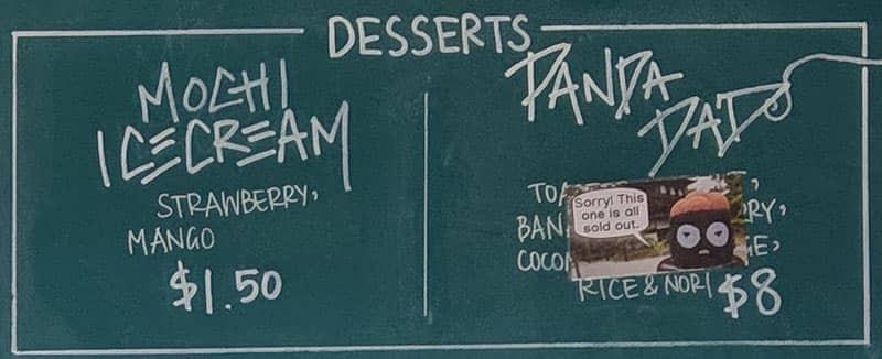 Five Sushi Brothers menu - desserts