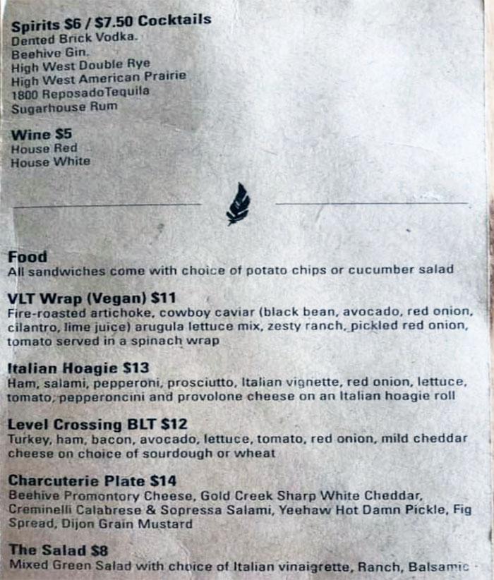 Level Crossing Brewing Company menu - spirits, wine, food