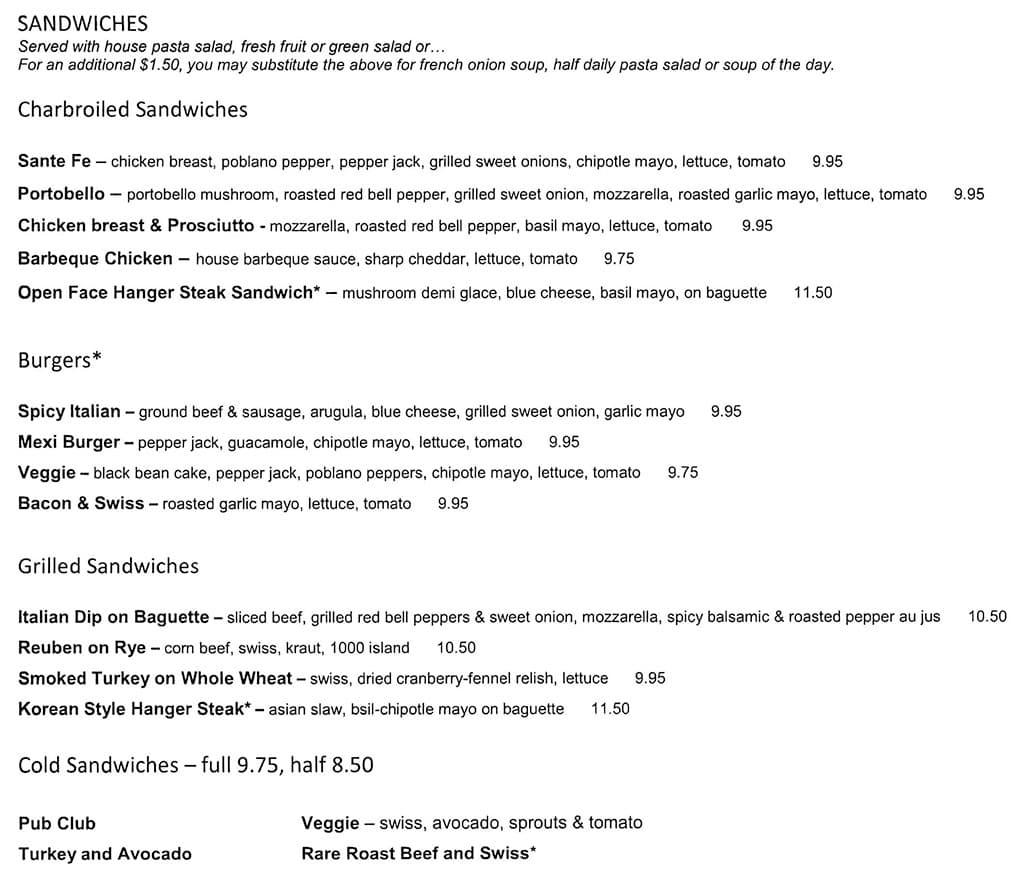 Stella Grill menu - sandwiches