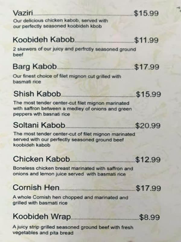 Sumac Cafe menu - kabobs