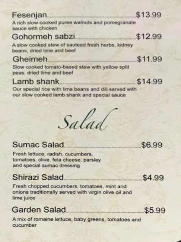 Sumac Cafe menu - stews, salads