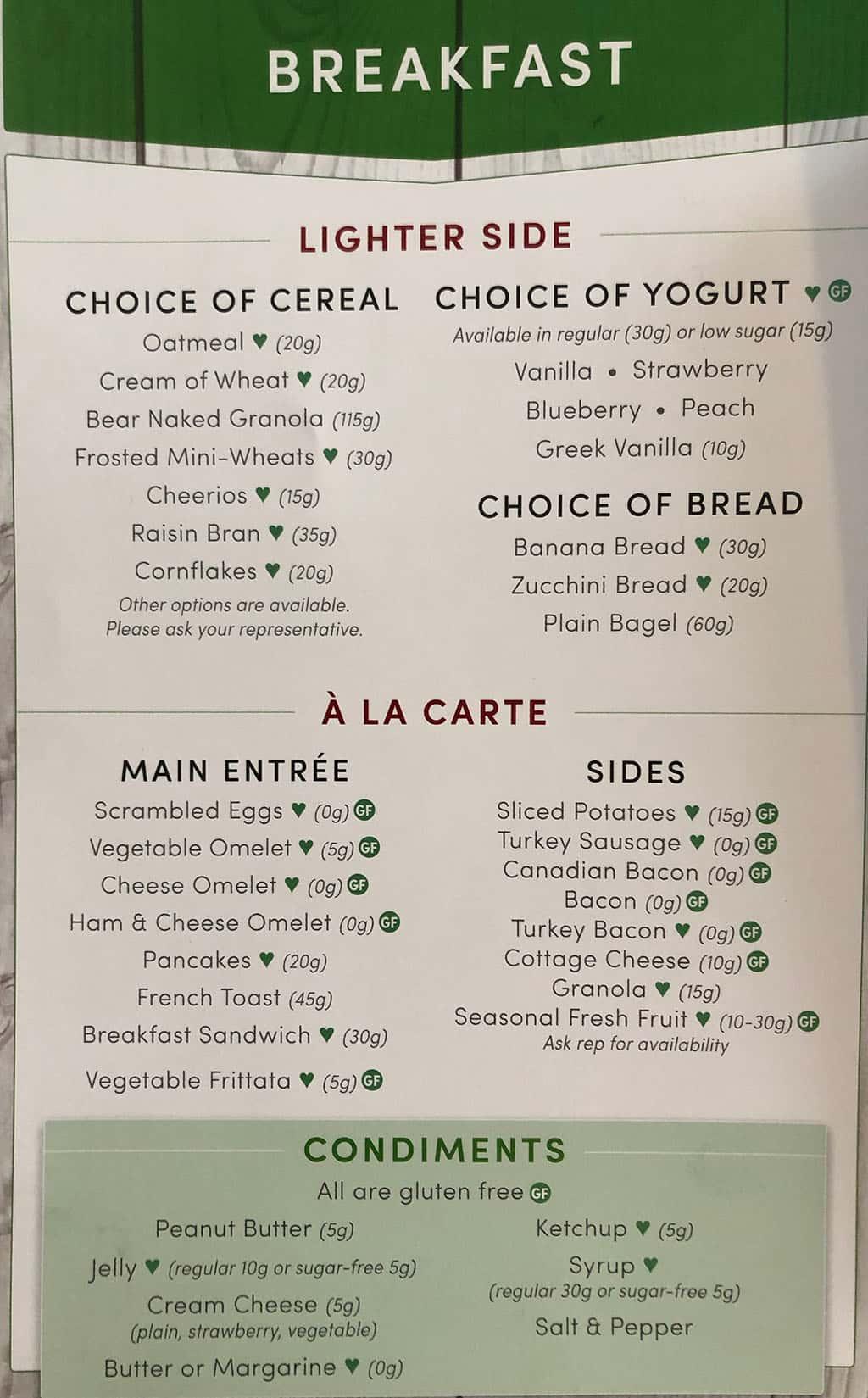 University Of Utah Hospital In Patient menu - breakfast