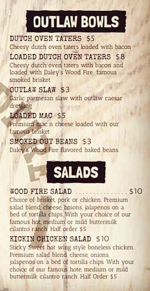 Daley's Wood Fire menu - bowls, salads