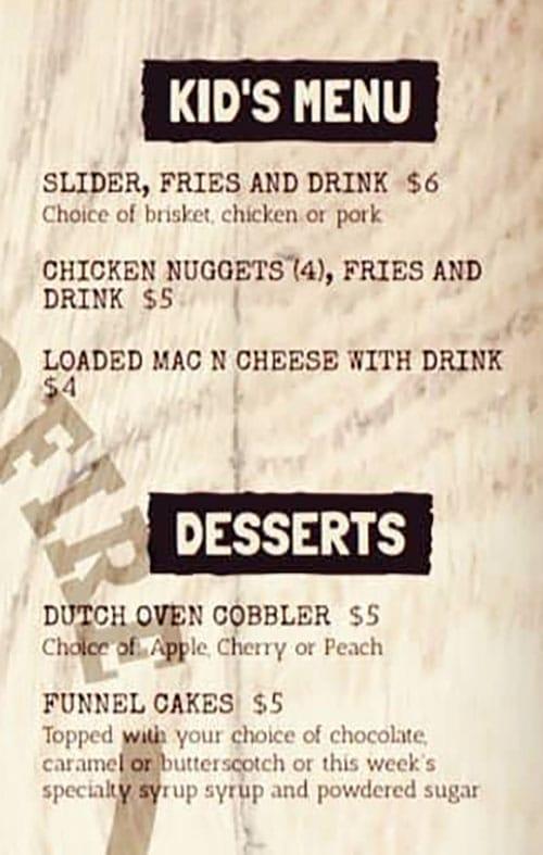 Daley's Wood Fire menu - kids, desserts