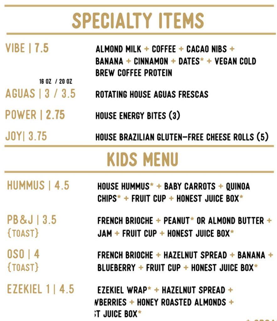 Honest Eatery menu - specialty items, kids