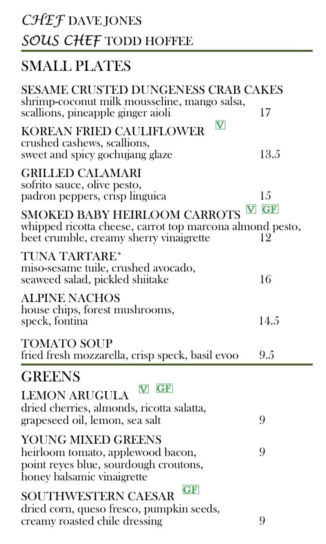 Log Haven Spring 2019 menu - appetitzers, soups, salads