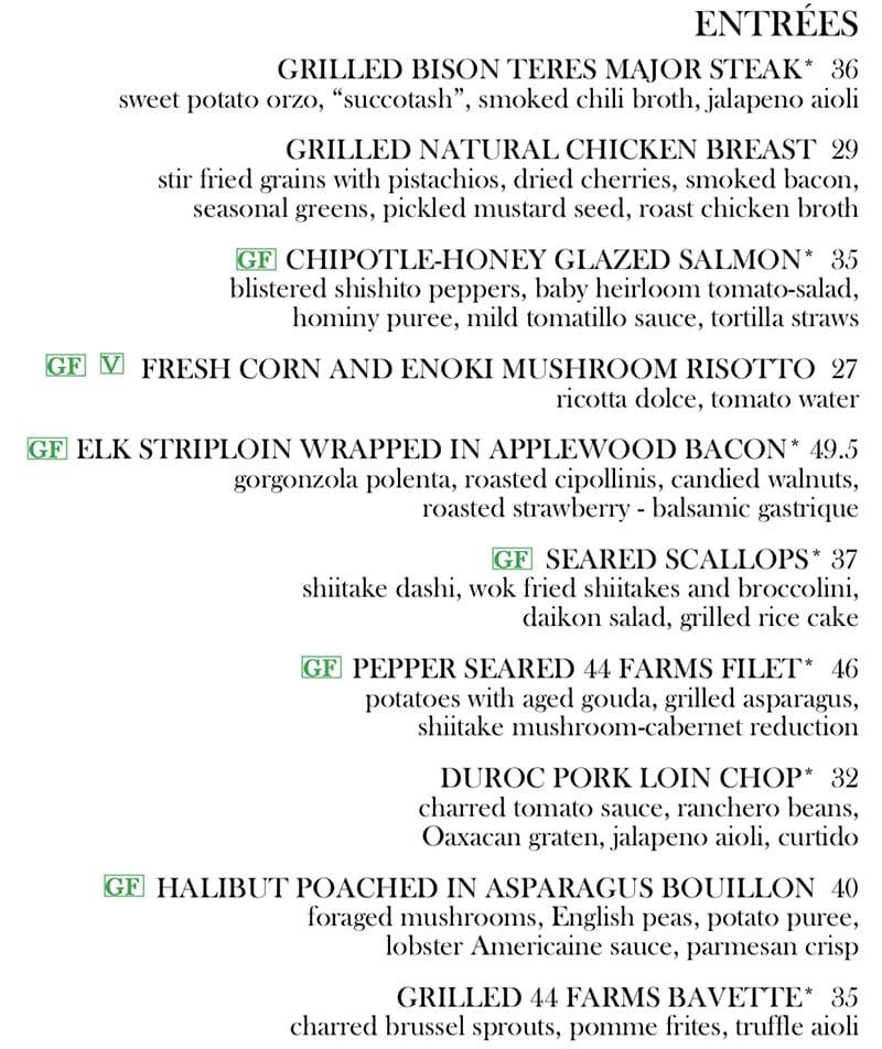 Log Haven Spring 2019 menu - entrees