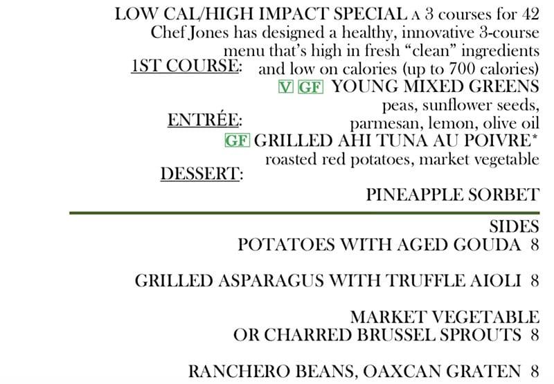 Log Haven Spring 2019 menu - low calorie, sides