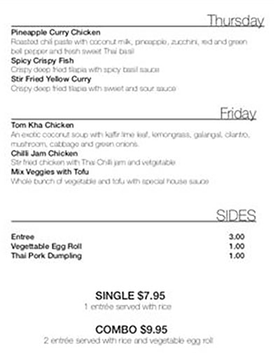 Mali Thai menu - every day menu