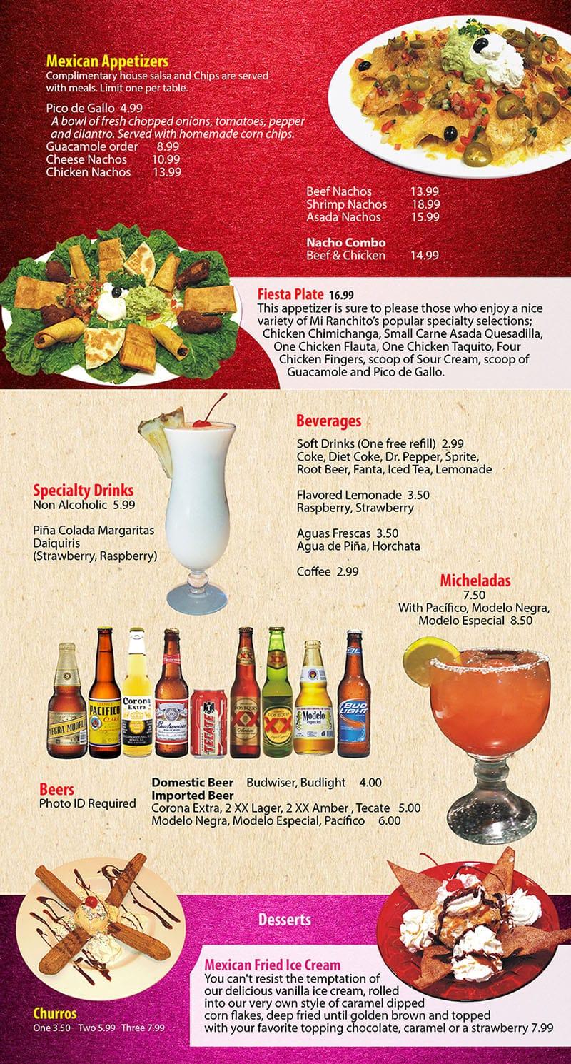 Mi Ranchito Grill menu - appetizers, drinks
