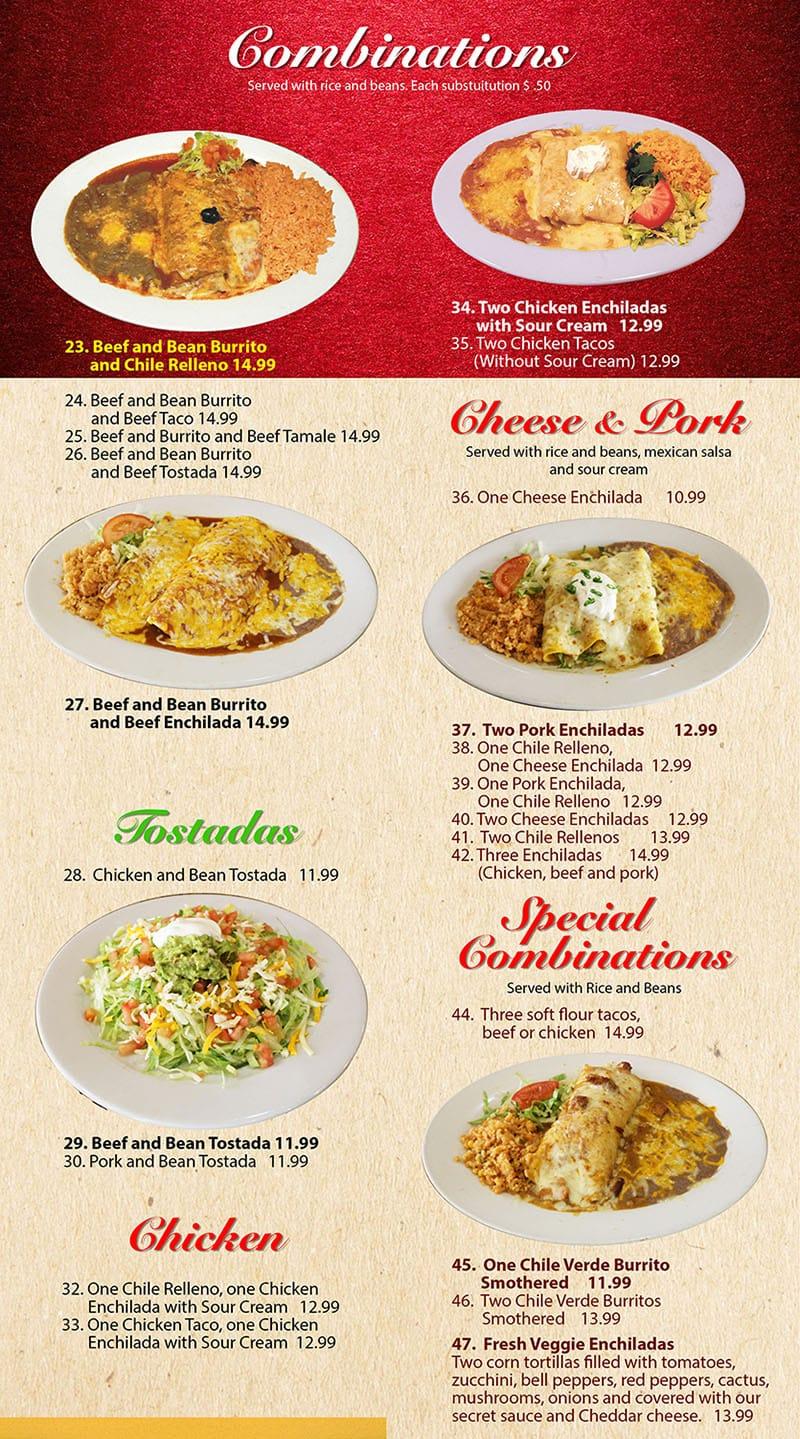 Mi Ranchito Grill menu - combinations continued