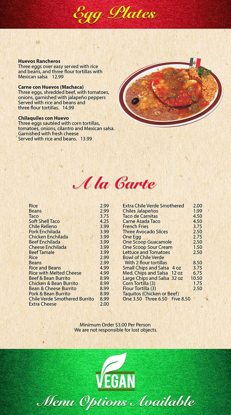 Mi Ranchito Grill menu - eggs, ala carte