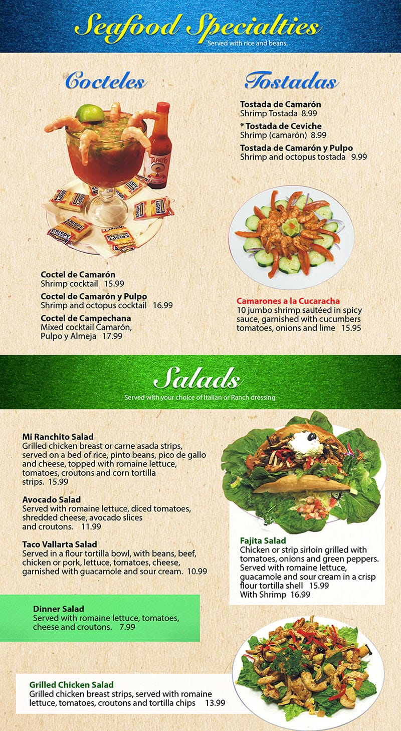 Mi Ranchito Grill menu - more seafood, specials