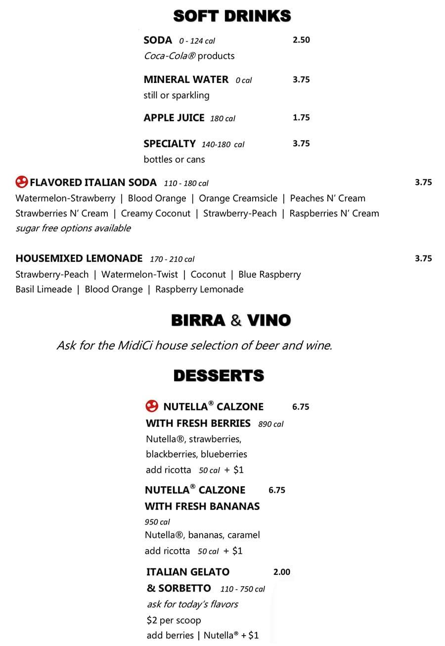 Midici Orem menu - drinks and dessert