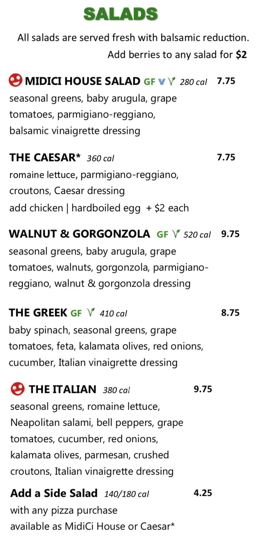 Midici Orem menu - salads