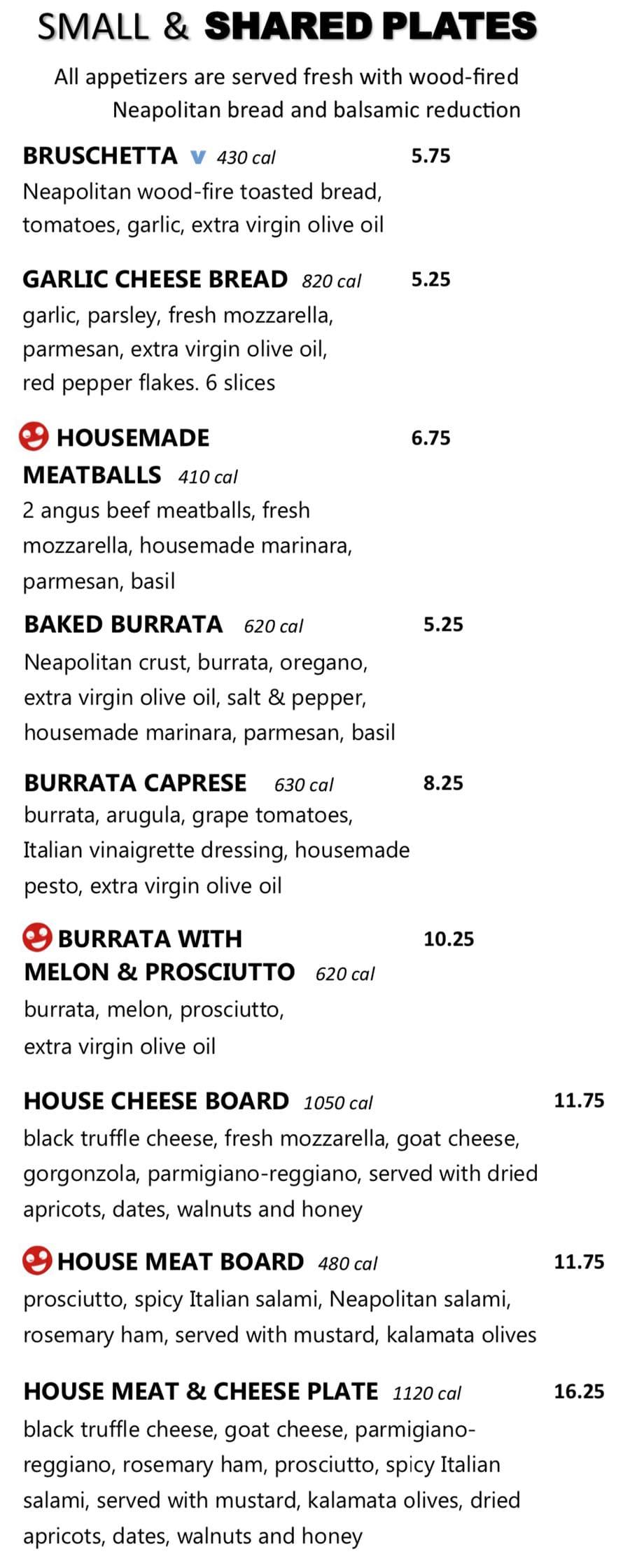 Midici Orem menu - small and shared plates