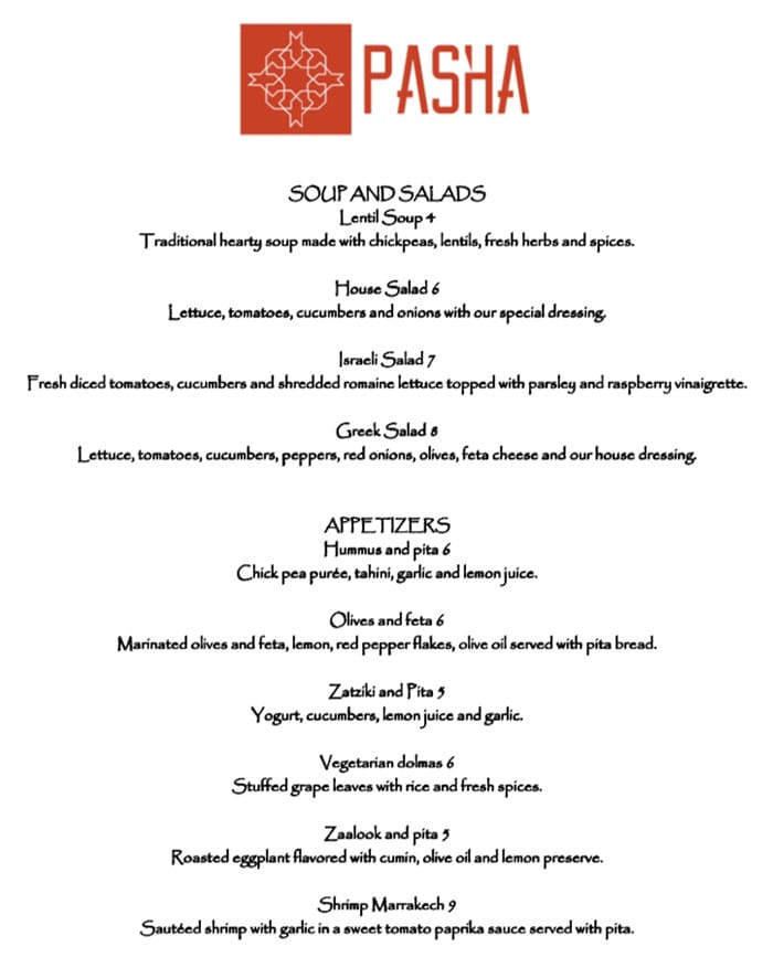 Pasha Middle Eastern Cuisine menu - soups, salads, appetizers
