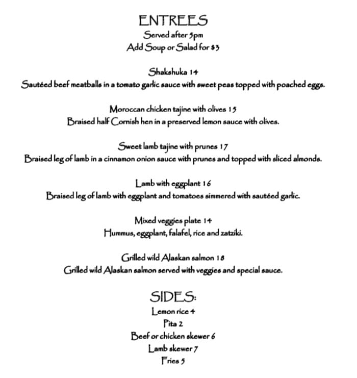 Pasha Middle Eastern Cuisine menu - entrees