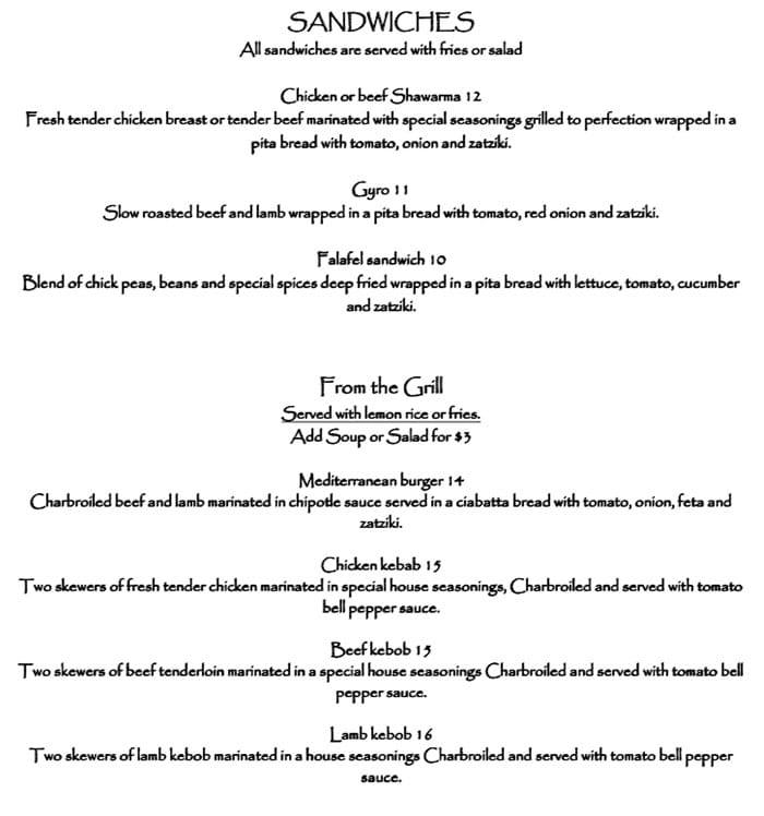 Pasha Middle Eastern Cuisine menu - sandwiches, grill