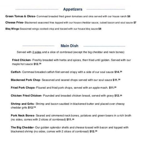 Sauce Boss Southern Kitchen menu - appetizers, entrees