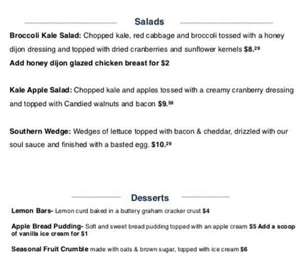 Sauce Boss Southern Kitchen menu - salads, desserts
