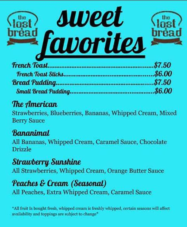 The Lost Bread food truck menu - french toast, bread pudding