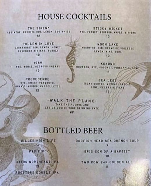 Under Current bar menu - cocktail, beer