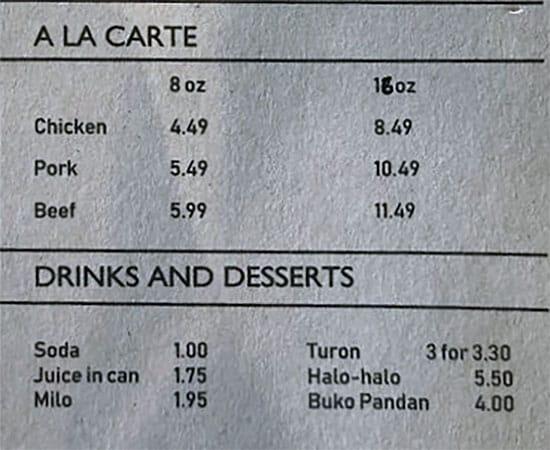 BFF Turon menu - ala carte, drinks, dessert