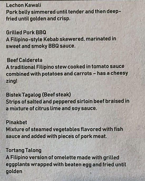 BFF Turon menu - entrees continued